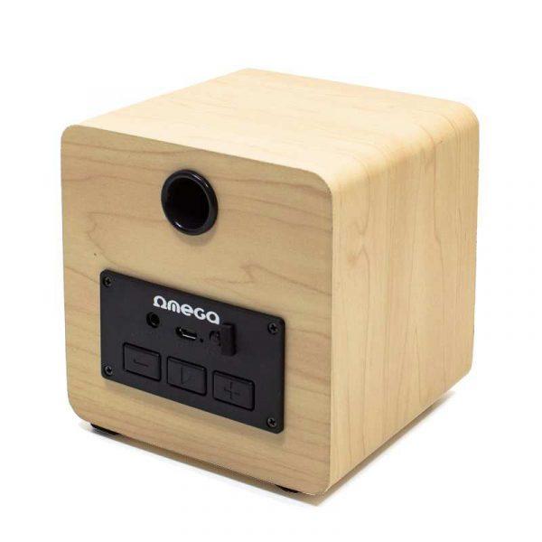 altavoz musica universal bluetooth marca omega cuadrado madera 5w 1