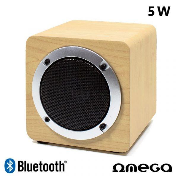 altavoz musica universal bluetooth marca omega cuadrado madera 5w 2
