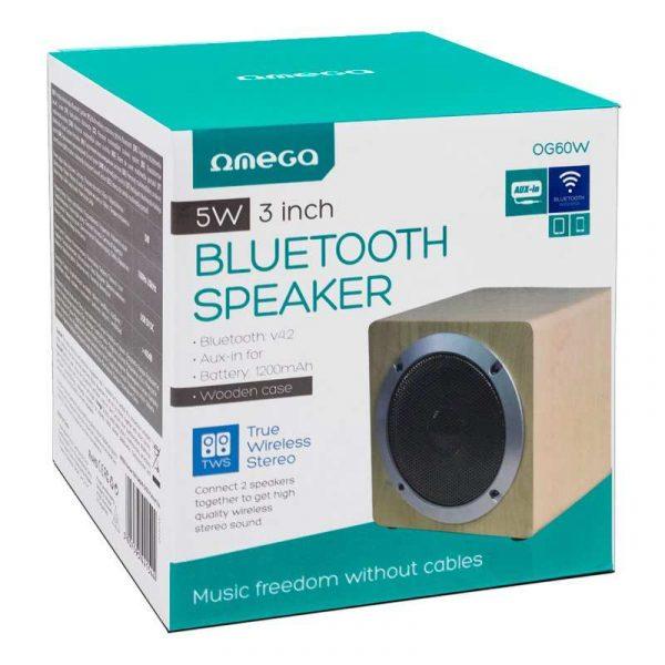 altavoz musica universal bluetooth marca omega cuadrado madera 5w