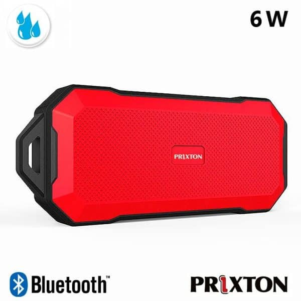 Altavoz Música Universal Bluetooth Marca Prixton Waterproof IP67 Rojo (6W) 3