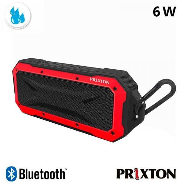 Altavoz Música Universal Bluetooth Marca Prixton Waterproof IP67 Rojo (6W) 2
