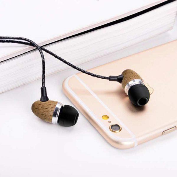 auriculares 35 mm stereo con micro madera natural