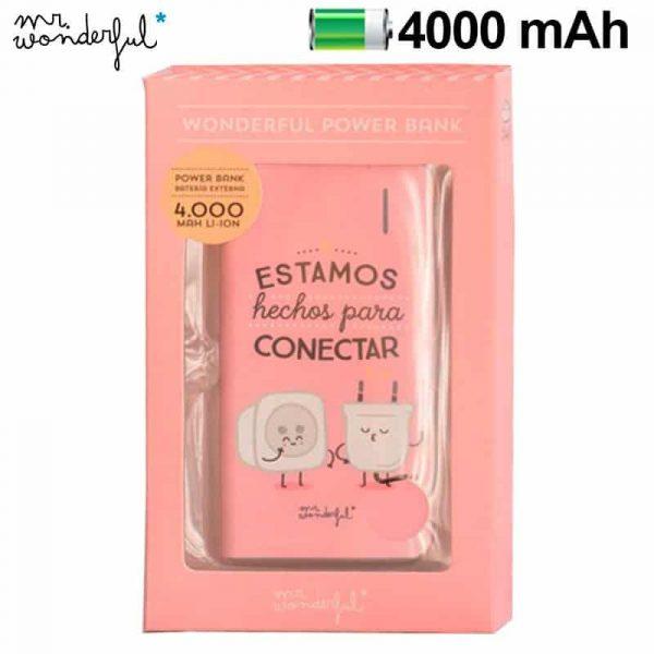 bateria externa micro usb power bank 4000 mah licencia mr wonderful rosa 1