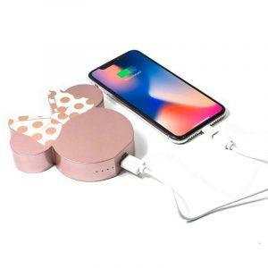 bateria externa micro usb power bank 5000 mah universal licencia disney minnie rose gold
