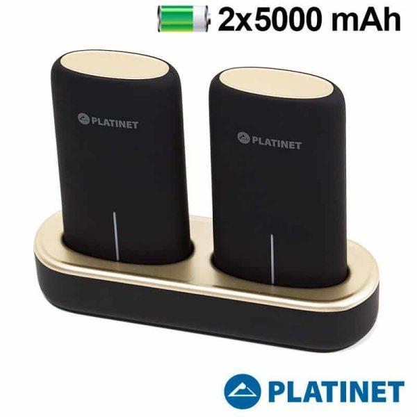 bateria externa micro usb power bank 5000 mah x2 uds estacion de carga magnetica platinet 1