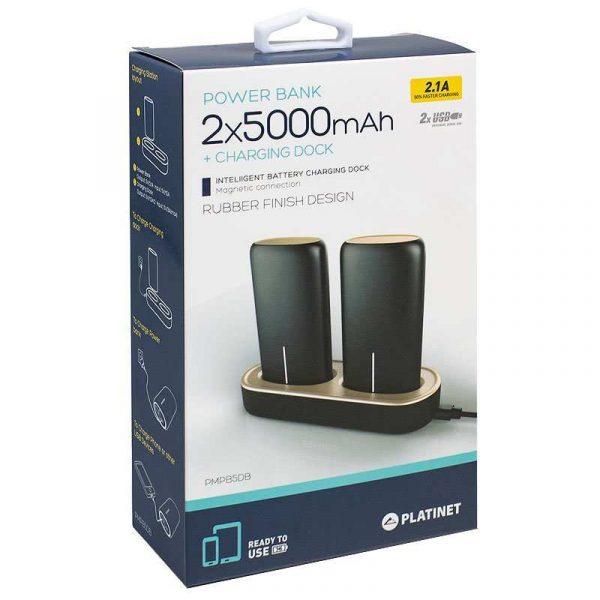bateria externa micro usb power bank 5000 mah x2 uds estacion de carga magnetica platinet
