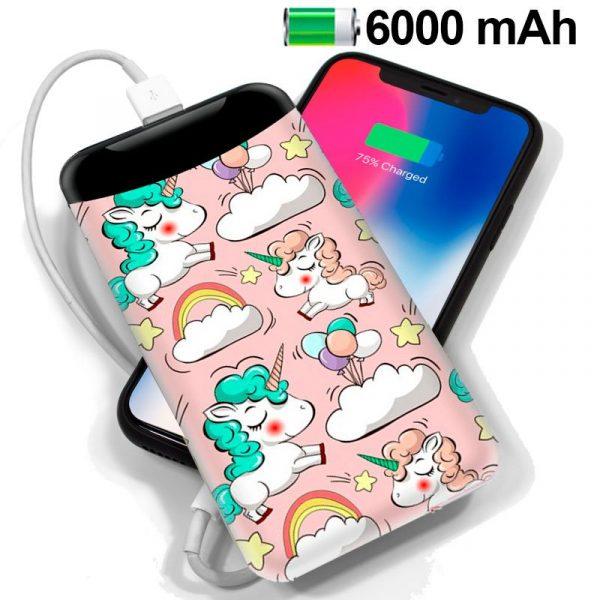 Bateria Externa Micro-usb Power Bank 6000 mAh Dibujos Unicornios 1