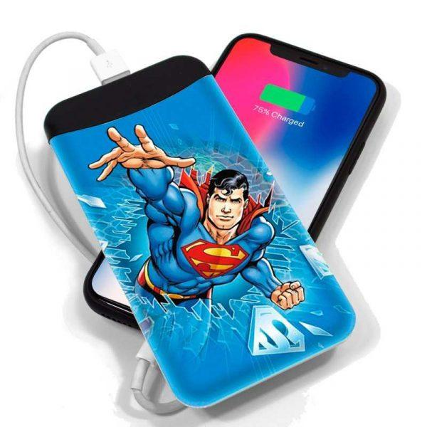 bateria externa micro usb power bank 6000 mah licencia dc superman