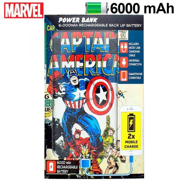 bateria externa micro usb power bank 6000 mah licencia marvel capitan america 1