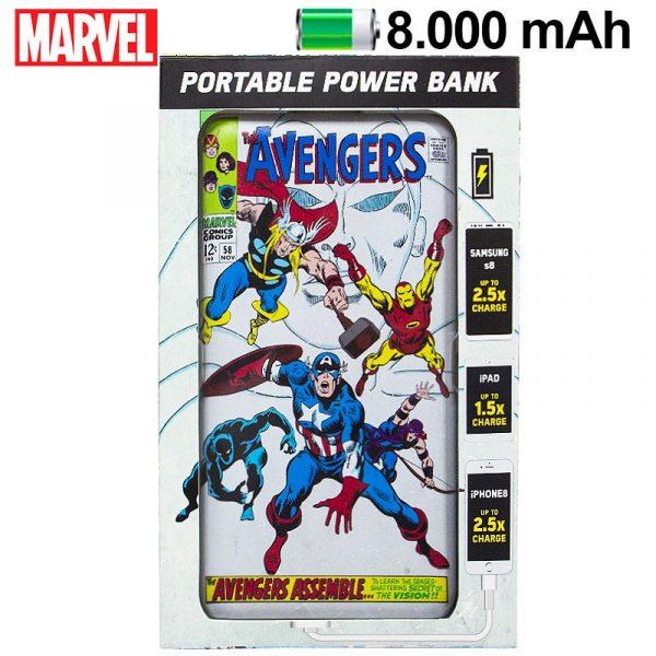 bateria externa micro usb power bank 8000 mah universal licencia marvel avengers 1