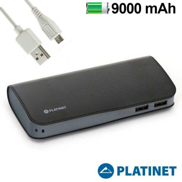Bateria Externa Micro-usb Power Bank 9000 mAh Platinet Polipiel Negra 1