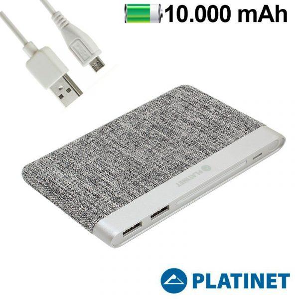 bateria externa universal power bank 10000 mah polimero slim 2 x usb 21a textil gris claro platinet 1