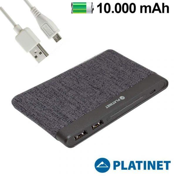 Bateria Externa Universal Power Bank 10.000 mAh Polímero Slim (2 x usb / 2.1A) Textil Gris Oscuro Platinet 1