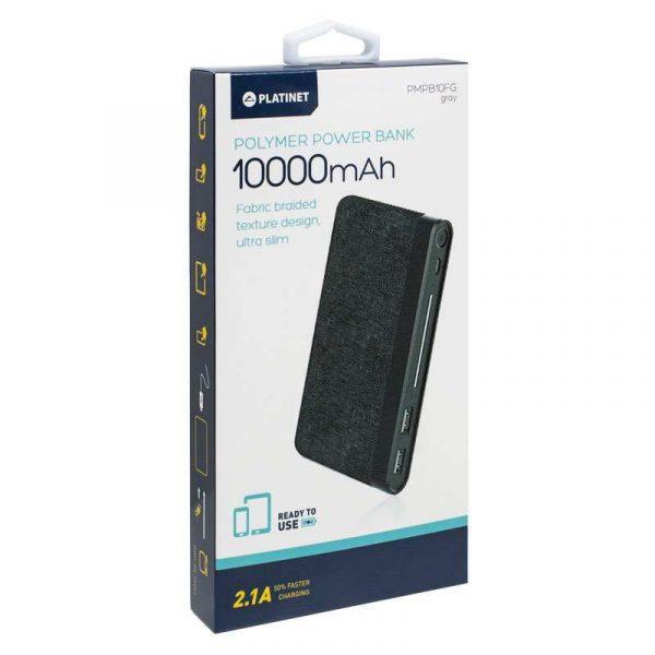 Bateria Externa Universal Power Bank 10.000 mAh Polímero Slim (2 x usb / 2.1A) Textil Gris Oscuro Platinet 2