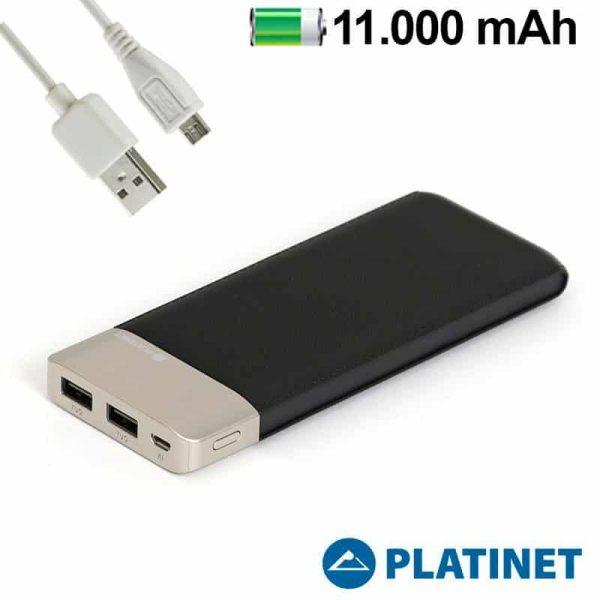 bateria externa universal power bank 11000 mah platinet polipiel negro metal polimero 1