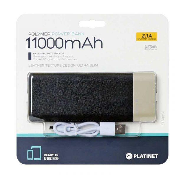 bateria externa universal power bank 11000 mah platinet polipiel negro metal polimero