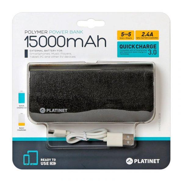 bateria externa universal power bank 15000 mah platinet qualcomm 2 x usb carga rapida2