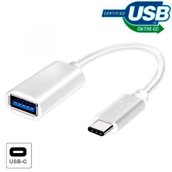 Cable Entrada USB OTG Tipo-C Universal (Blanco) 1
