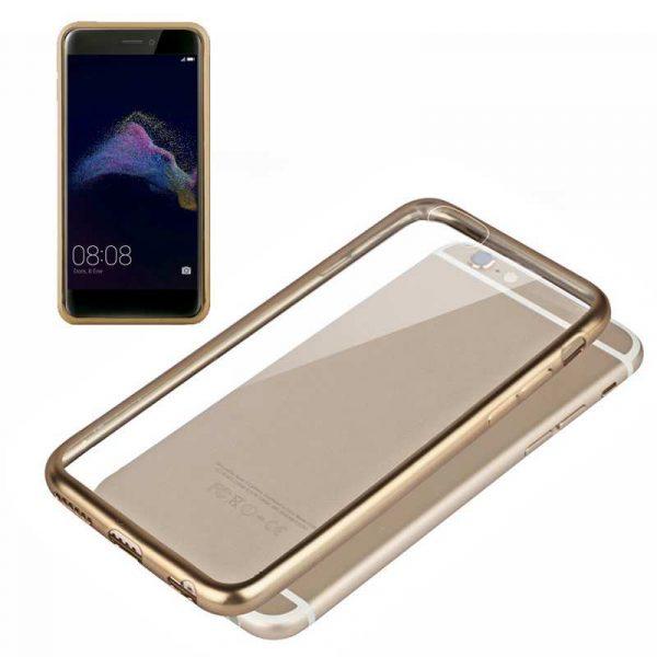 carcasa huawei p8 lite 2017 borde metalizado dorado 1
