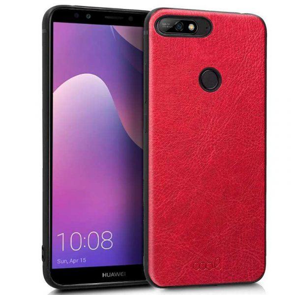carcasa huawei y7 2018 honor 7c leather piel rojo 1