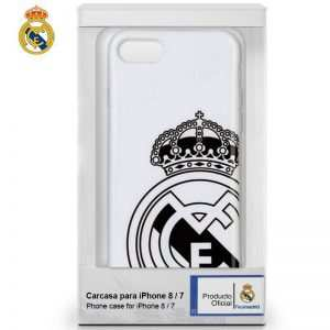 Carcasa iPhone 7 / iPhone 8 / SE 2020 Licencia Fútbol Real Madrid Blanca Escudo 3