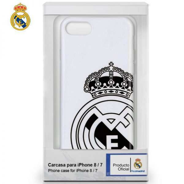Carcasa iPhone 7 / iPhone 8 / SE 2020 Licencia Fútbol Real Madrid Blanca Escudo 2
