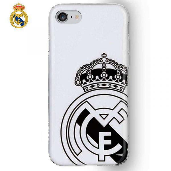 Carcasa iPhone 7 / iPhone 8 / SE 2020 Licencia Fútbol Real Madrid Blanca Escudo 1