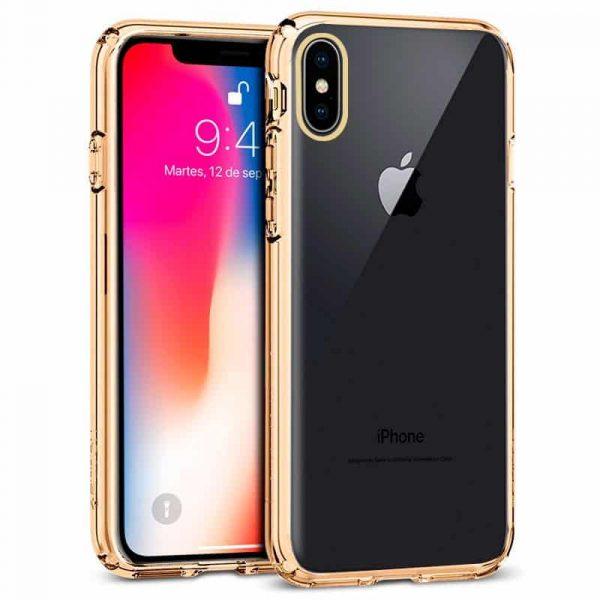 carcasa iphone x iphone xs borde metalizado dorado1