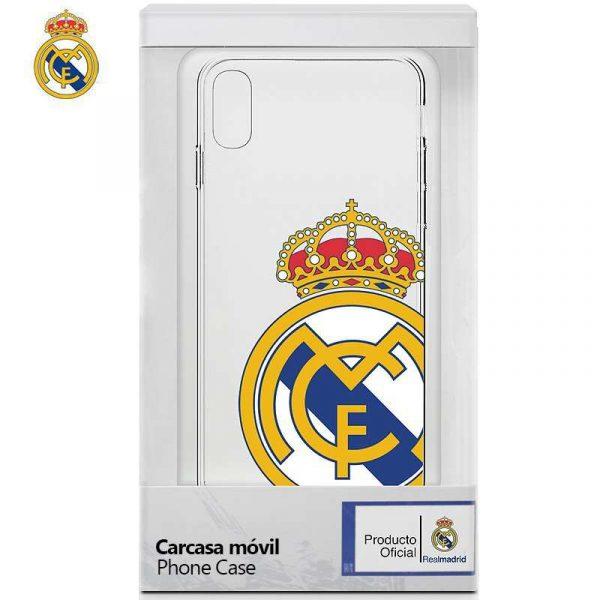 Carcasa iPhone X / iPhone XS Licencia Fútbol Real Madrid Transparente Escudo 1