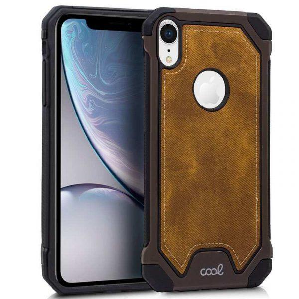 carcasa iphone xr hard tela marron