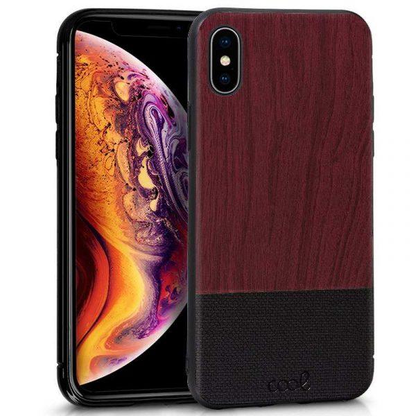 carcasa iphone xs max dibujos madera caoba 1