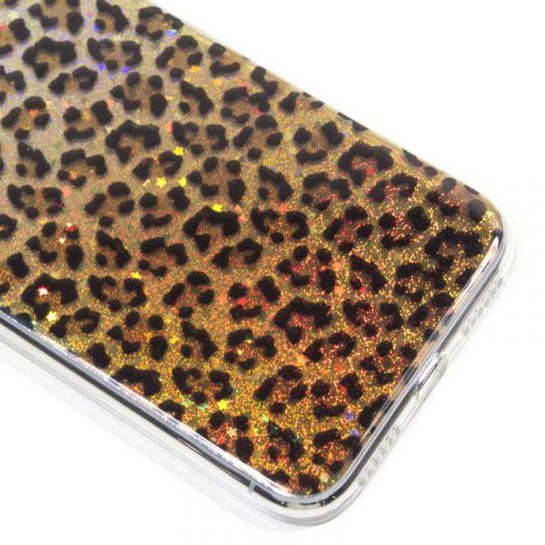 carcasa iphone xs max glitter leopardo