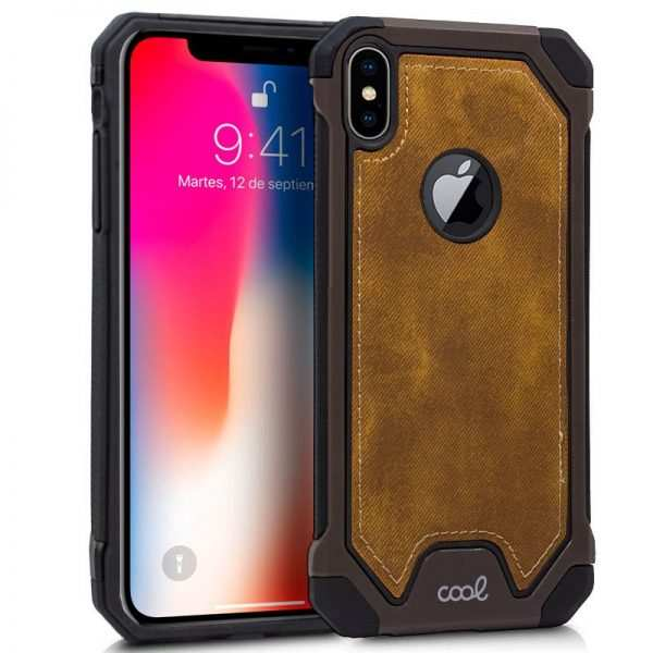 carcasa iphone xs max hard tela marron 1