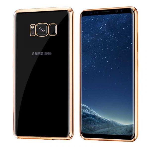 carcasa samsung g955 galaxy s8 plus borde metalizado dorado 1