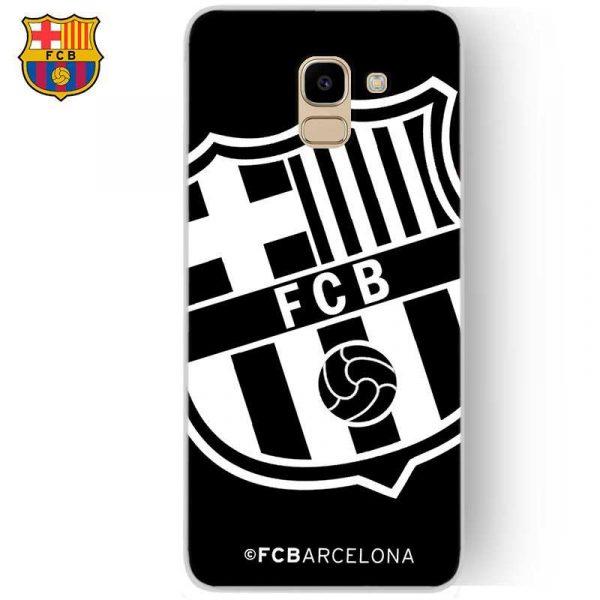 carcasa samsung j600 galaxy j6 licencia futbol fc barcelona negro