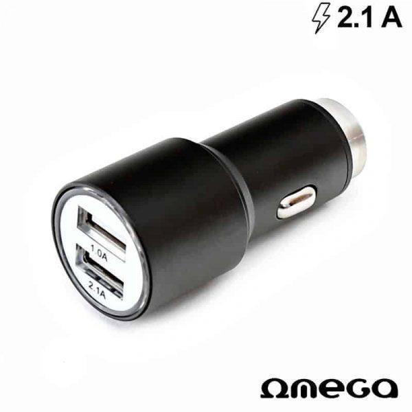 cargador coche universal doble entrada usb metalico 2 x usb omega 21 amp negro 1