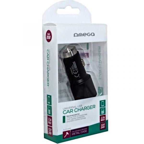 cargador coche universal doble entrada usb metalico 2 x usb omega 21 amp negro