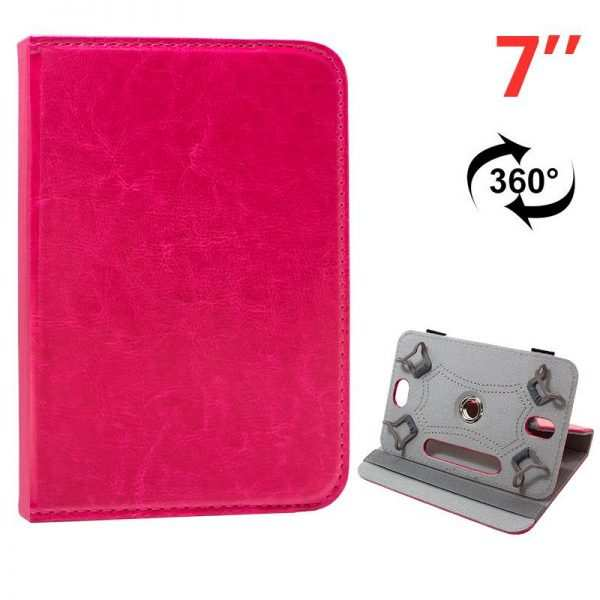 funda ebook tablet 7 pulg polipiel rosa giratoria