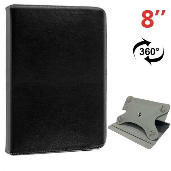 funda ebook tablet 8 pulgadas liso negro giratoria 1