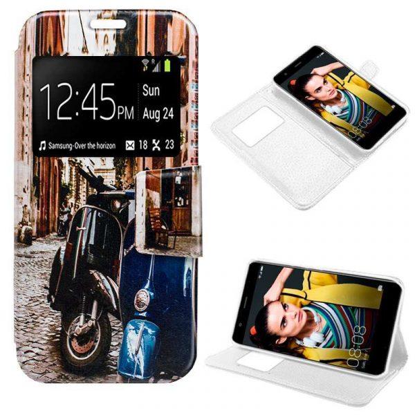 Funda Flip Cover Huawei P10 Lite Dibujos Moto 1