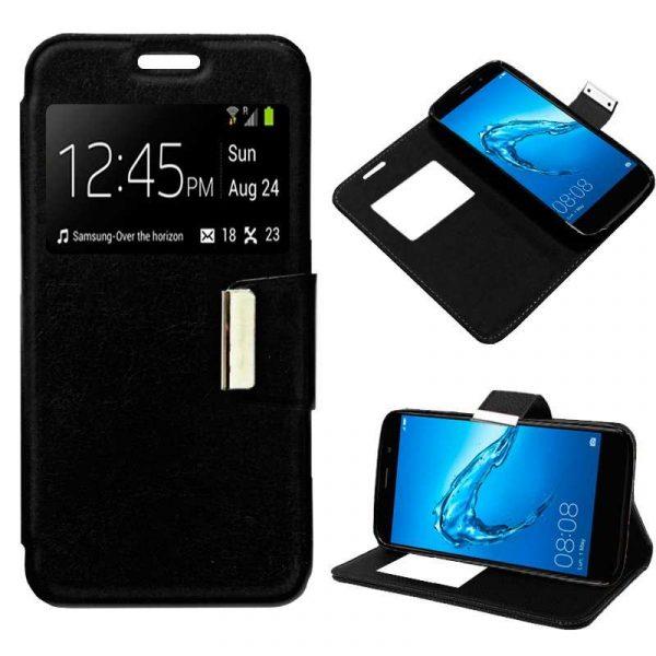 Funda Flip Cover Huawei Y7 Liso Negro 1