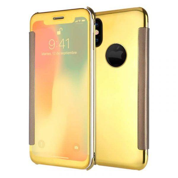 funda flip cover iphone x iphone xs clear view dorado 1