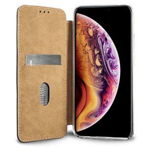 funda flip cover iphone xs max leather marron