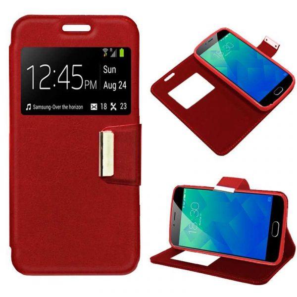 funda flip cover meizu m5s liso rojo