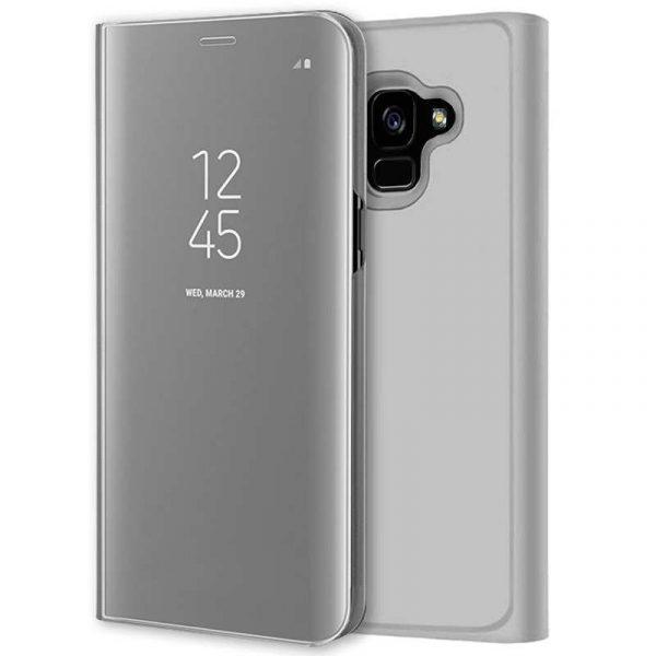 Funda Flip Cover Samsung A530 Galaxy A8 (2018) Clear View Plata 1