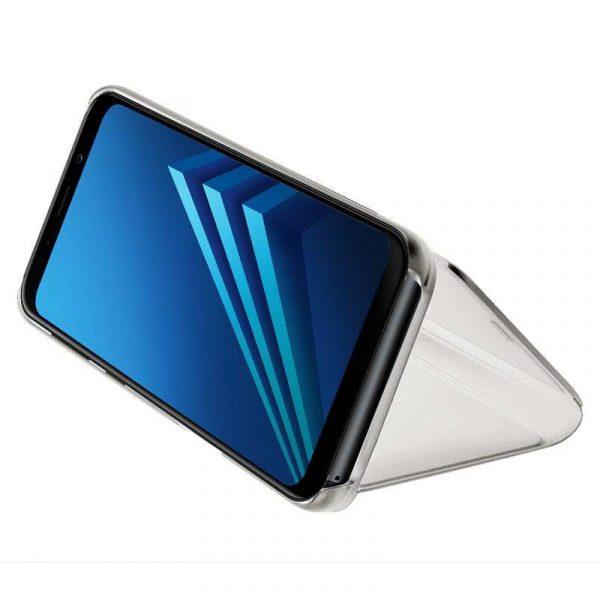 Funda Flip Cover Samsung A530 Galaxy A8 (2018) Clear View Plata 2