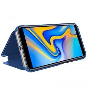 funda flip cover samsung j610 galaxy j6 plus clear view azul 1