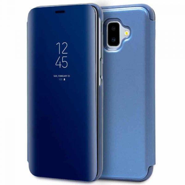 funda flip cover samsung j610 galaxy j6 plus clear view azul 2