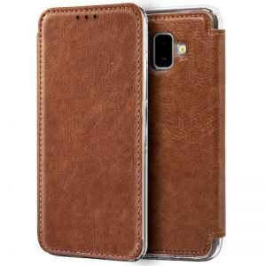Funda Flip Cover Samsung J610 Galaxy J6 Plus Leather Marrón 4