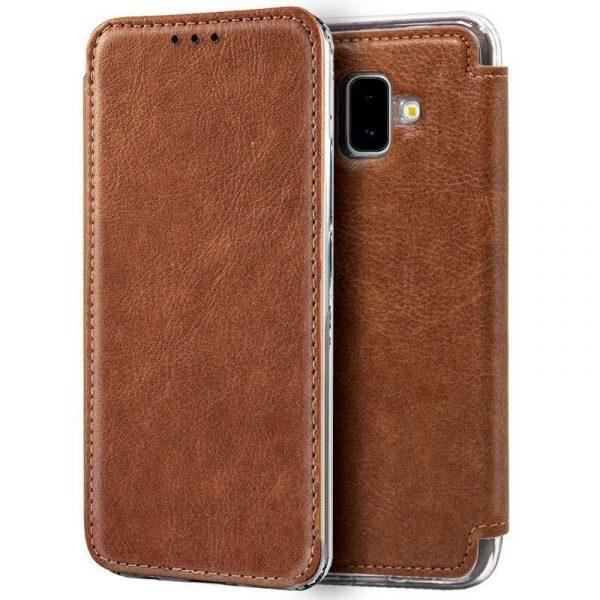 Funda Flip Cover Samsung J610 Galaxy J6 Plus Leather Marrón 1